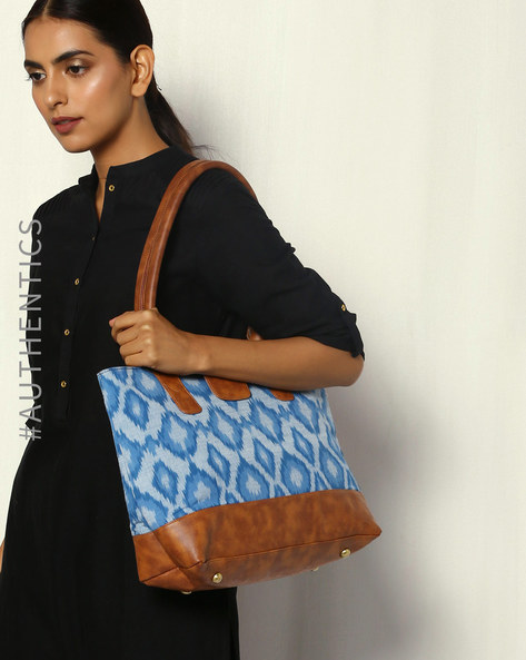 Handwoven Ikat Vegan Leather Tote Bag By A BIG INDIAN STORY ( Tan )