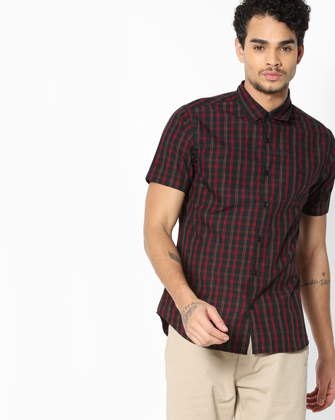 Checked Shirt With Spread Collar By UNITED COLORS OF BENETTON ( Natural )