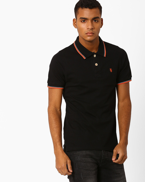 Slim Fit Polo T-Shirt With Short Button Placket By Killer ( Black )