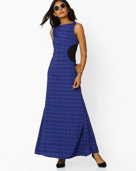 Maxi A-line Dress With Front Slit By Sassafras ( Blue )