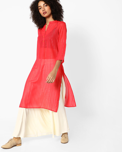 Straight Kurta With Mandarin Collar By Melange By Lifestyle ( Pink )