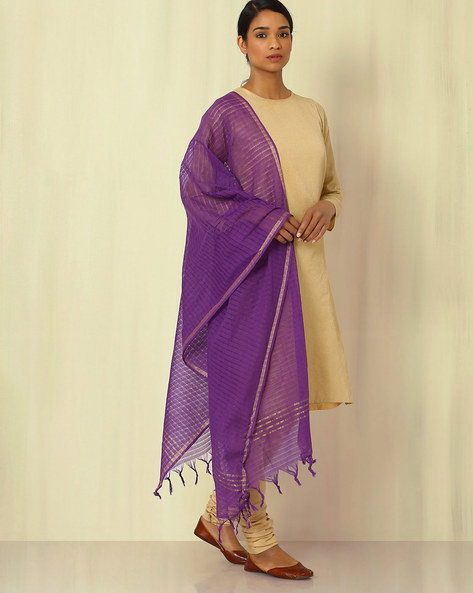 South Cotton Woven Dupatta By Indie Picks ( Purple )
