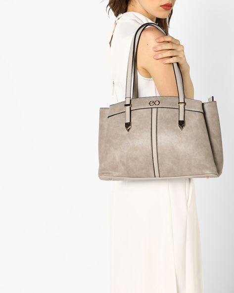 Satchel Bag With Short Handles By E2O ( Grey )