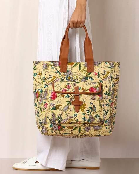 Floral Print Handbag With Kantha Embroidery By Molcha ( Beige ) - 460038583001