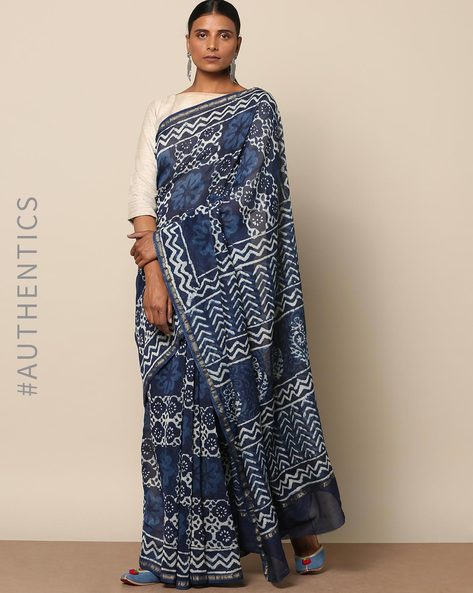 Handblock Indigo Print Chanderi Saree With Zari By Indie Picks ( Indigo ) - 460146810001