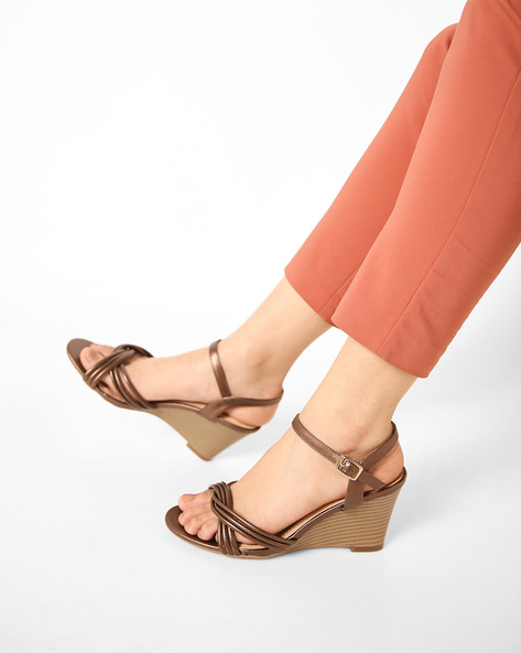 Open-Toe Stacked Heel Wedges By AJIO ( Pewter )