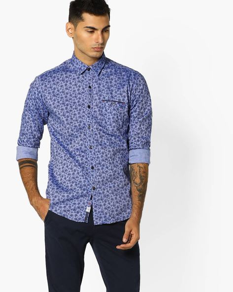 Floral Print Shirt With Patch Pocket By Killer ( Blue )