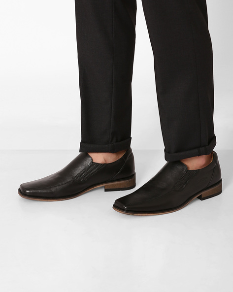 Genuine Leather Slip-on Formal Shoes By VALENTINO ( Black )