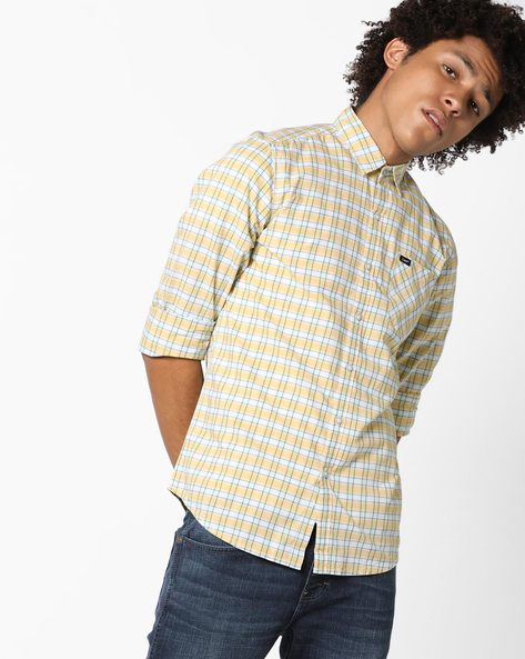 Checked Shirt With Patch Pocket By Lee ( Yellow )
