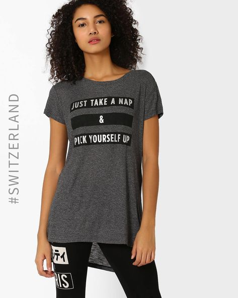 Printed High-Low T-shirt By TALLY WEiJL ( Grey )