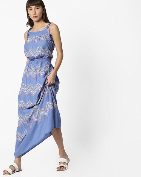 Strappy Chevron Print Maxi Dress By DNMX ( Blue )