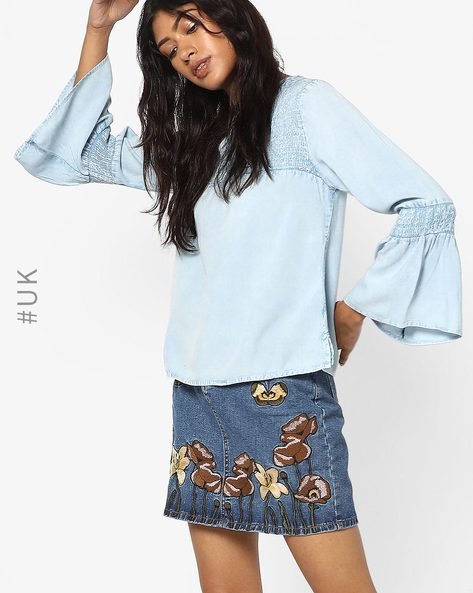 Shirred Yoke Top With Bell Sleeves By INFLUENCE ( Blue )