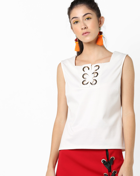 Sleeveless Top With Criss-Cross Tie-Up By AJIO ( Offwhite )