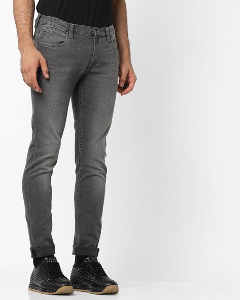 Lightly Washed Skinny Fit Jeans By Lee ( Gray )