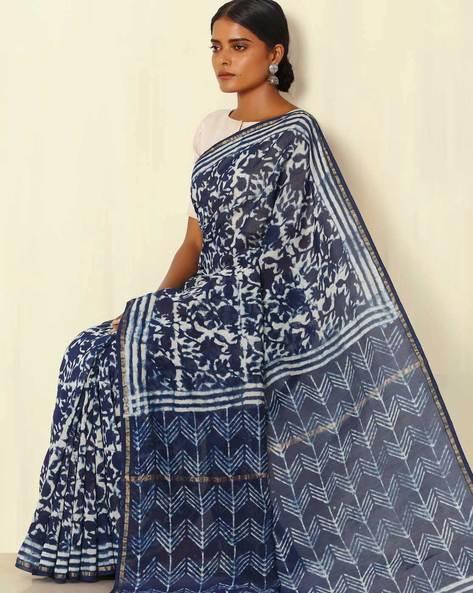 Handblock Print Indigo Chanderi Saree With Zari Border By Indie Picks ( Indigo ) - 460053736001