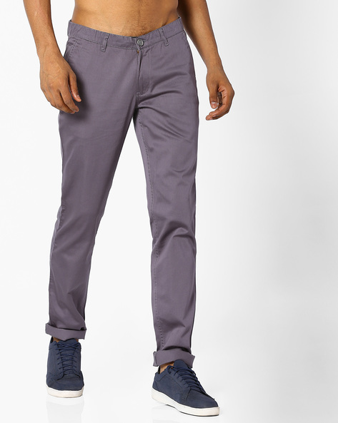Slim Fit Flat-Front Trousers By JOHN PLAYERS ( Gray )