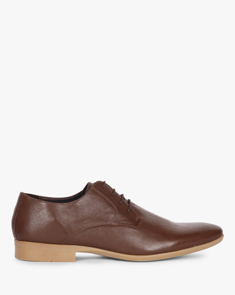 N9-Treated Genuine Leather Derby Shoes By AJIO ( Brown )