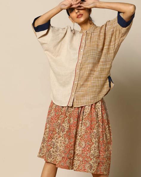 Handloom Cotton Half & Half Shirt With Kimono Sleeves By Free Living ( White ) - 460095264001