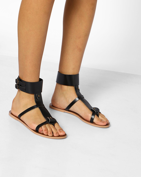 Leather Gladiator Sandals With Buckle Closures By AJIO ( Black )