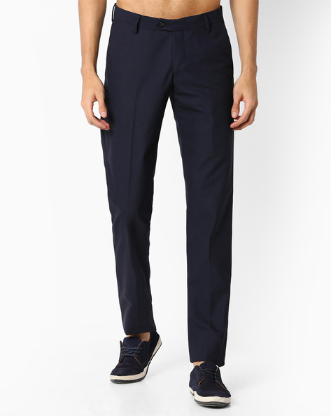Slim Fit Flat-Front Trousers By VIMAL APPARELS ( Navy ) - 438043060001