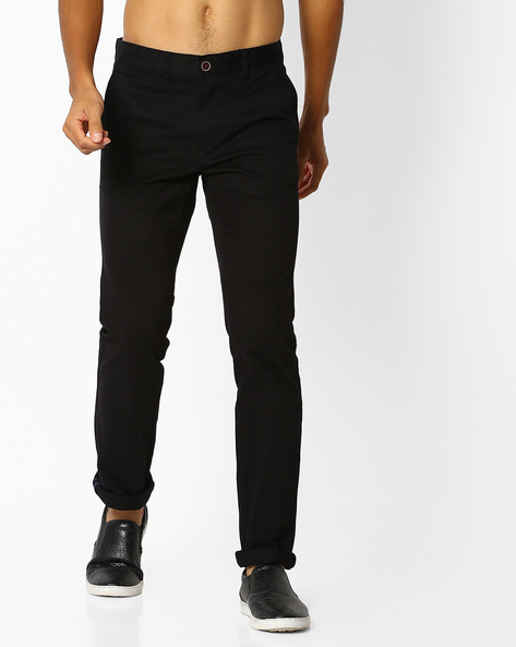 Flat-Front Chinos By NETPLAY ( Black )