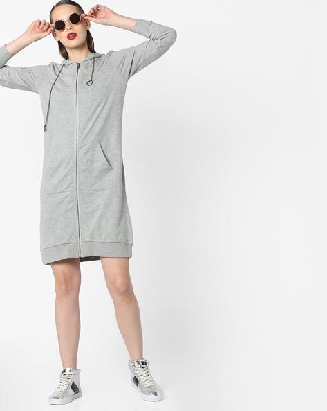 Hooded Sweat Dress With Insert Pockets By AJIO ( Greymelange )