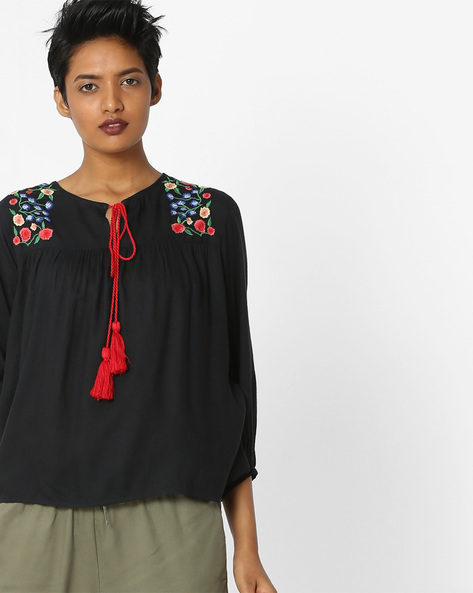 Top With Floral Embroidery By Rena Love ( Navyblue )