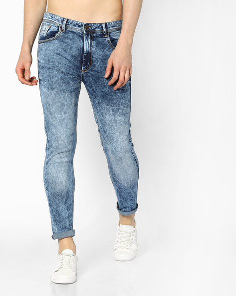 Heavily Washed Slim Fit Jeans By ADAMO LONDON ( Blue )