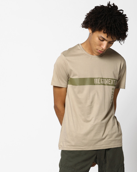 Crew-Neck T-shirt With Placement Print By AJIO ( Khaki )