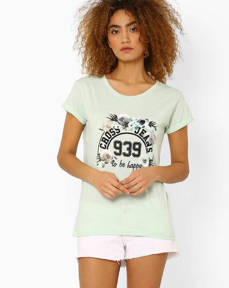 Graphic Print Crew-Neck T-shirt By Cross Jeans ( Green )