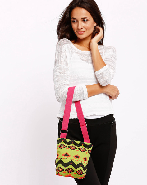 Aztec Print Sling Bag By Kanvas Katha ( Green )