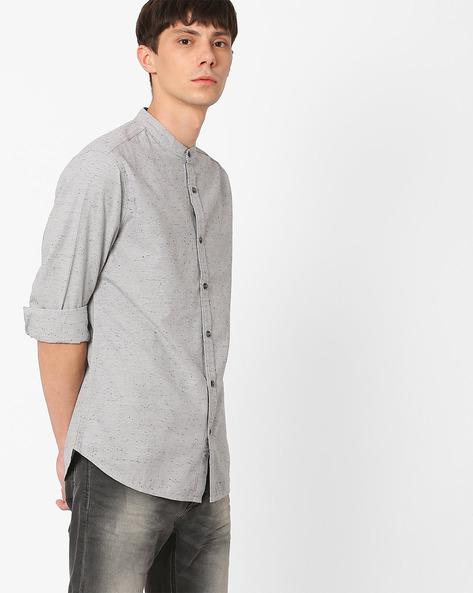 Cotton Nep Shirt With Mandarin Collar By AJIO ( Grey )