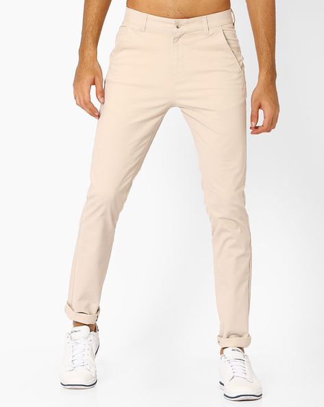 Slim Fit Flat-Front Trousers By Nature Casuals ( Offwhite )