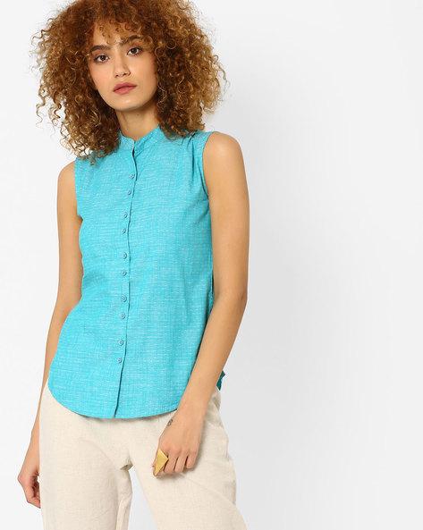 Pattern Woven Cotton Shirt By WRANGLER ( Blue )
