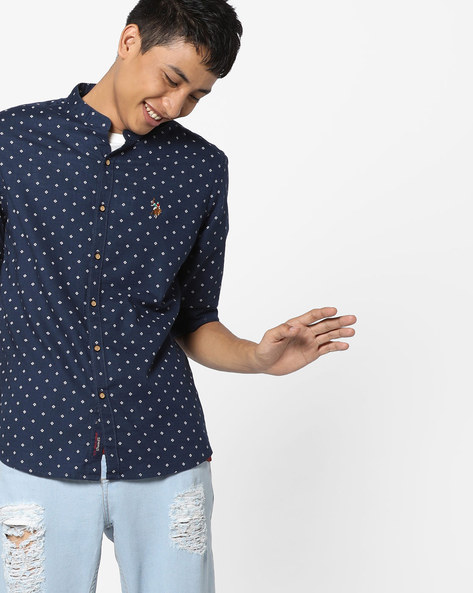 Micro Print Slim Fit Shirt By US POLO ( Navy )