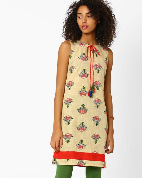 Floral Print Kurta With Tie-Up Neckline By AJIO ( Beige )