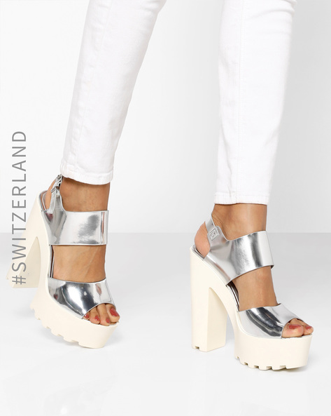 Slingback Sandals With Block Heels By TALLY WEiJL ( Grey )