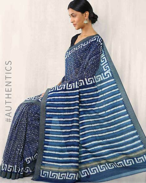 Dabu Printed Indigo Chanderi Ghicha Border Saree By Indie Picks ( Navyblue )