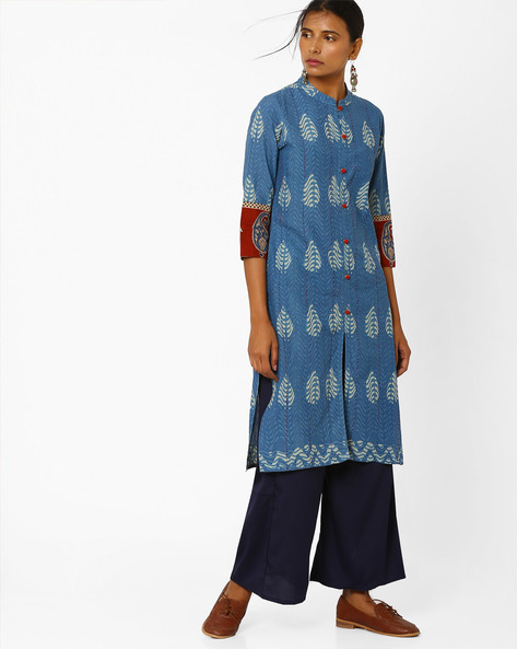 Printed Straight Kurta By SIYAHI ( Ltblue )