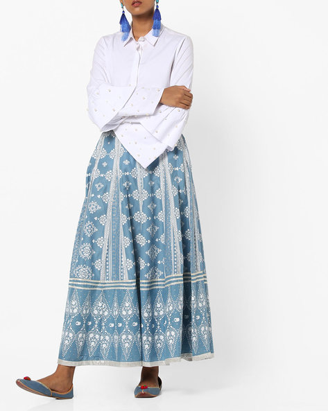 Floral Print Skirt With Semi-Elasticated Waist By W ( Blue )