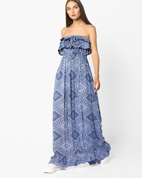 Printed Maxi Tube Dress By Oxolloxo ( Blue )