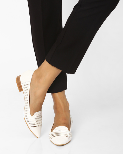 Pointed-Toe Shoe With Laser Cut-Out Detail By MFT Couture ( White )