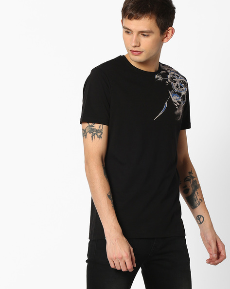 Crew-Neck Slim T-shirt By SPYKAR ( Black )