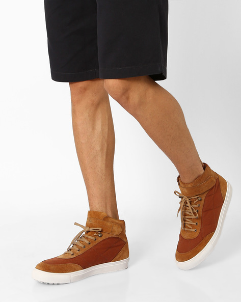 Canvas N9-Treated High-Top Trainers By AJIO ( Brown )