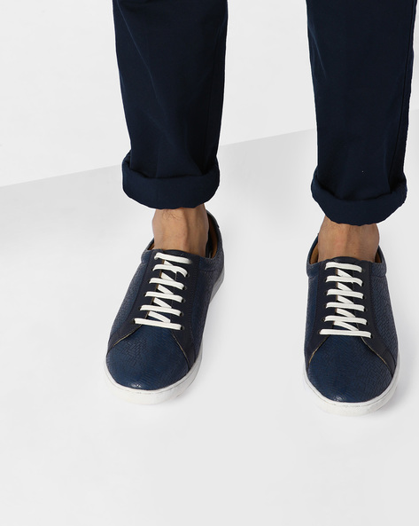 N9-Treated Faux Leather Sneakers By AJIO ( Navy )