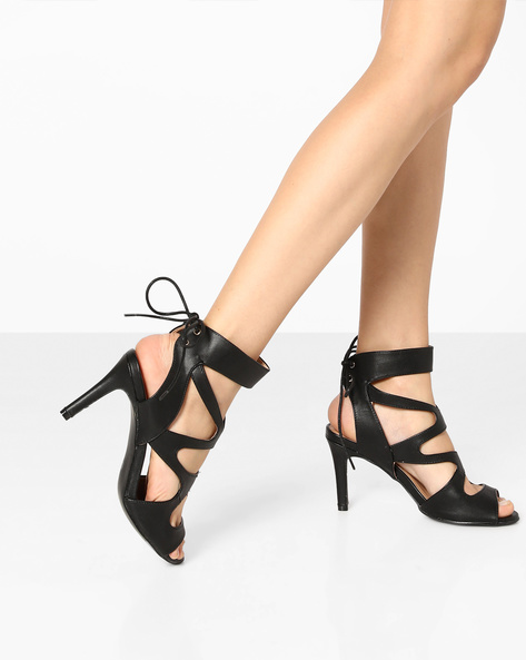 Tie-Up Stilettos With Cut-Outs By AJIO ( Black )