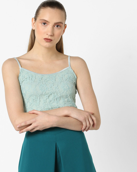 Strappy Camisole Top With Lace Overlay By CODE By Lifestyle ( Aqua )