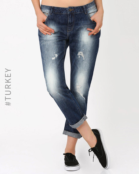 Relaxed Fit Distressed Jeans By Cross Jeans ( Dkblue )