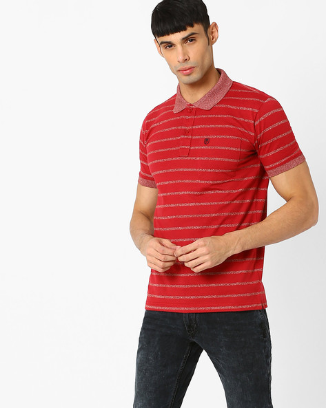 Regular Fit Striped Polo T-shirt By DUKE ( Maroonburg )