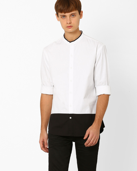 Slim Fit Shirt With Band Collar By ANTIFERRO ( Multi )